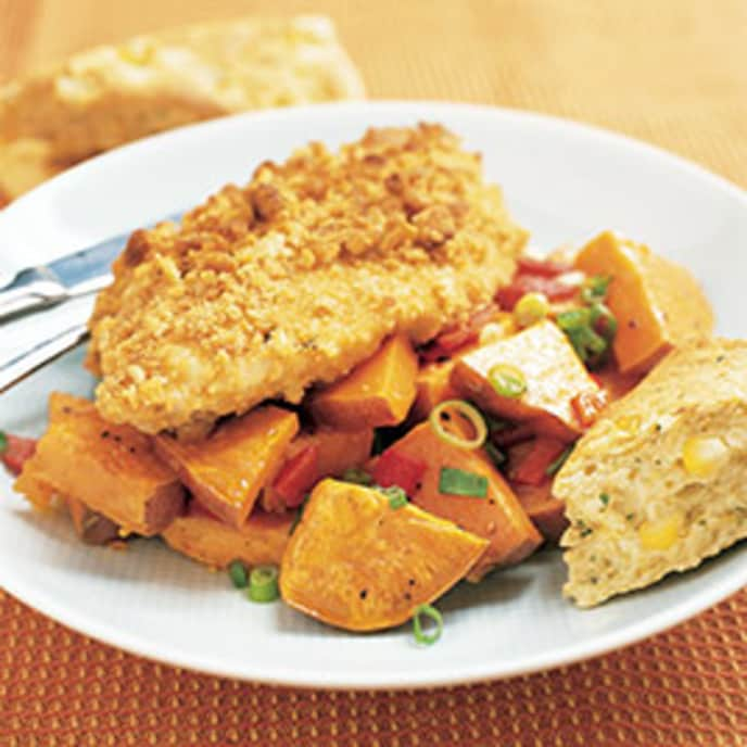 Oven-Fried Chicken and Roasted Sweet Potato Salad