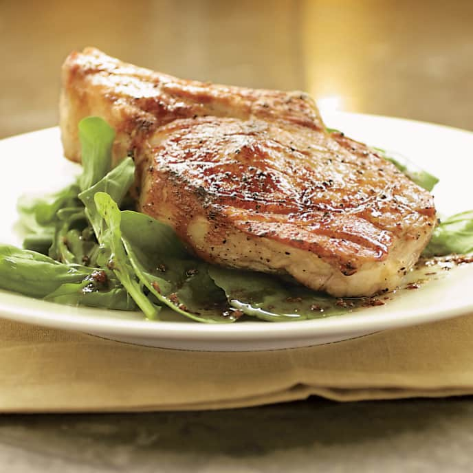 Charcoal-Grilled Veal Rib Chops with Herb Paste