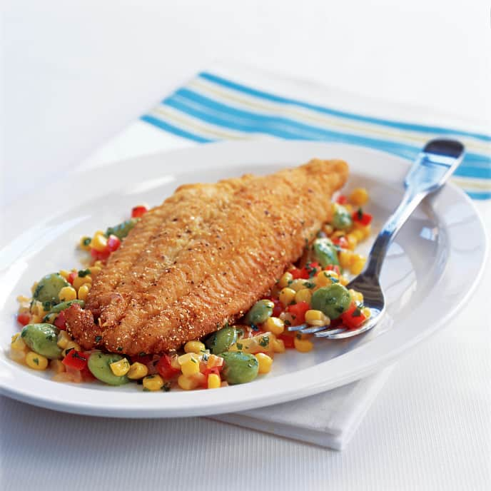 Cornmeal Fried Fish and Succotash