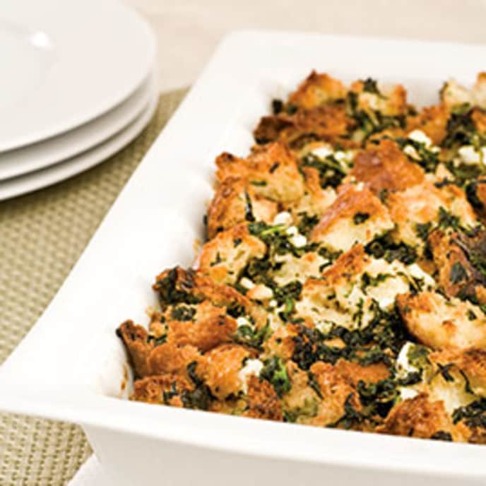 Savory Bread Pudding with Spinach and Feta