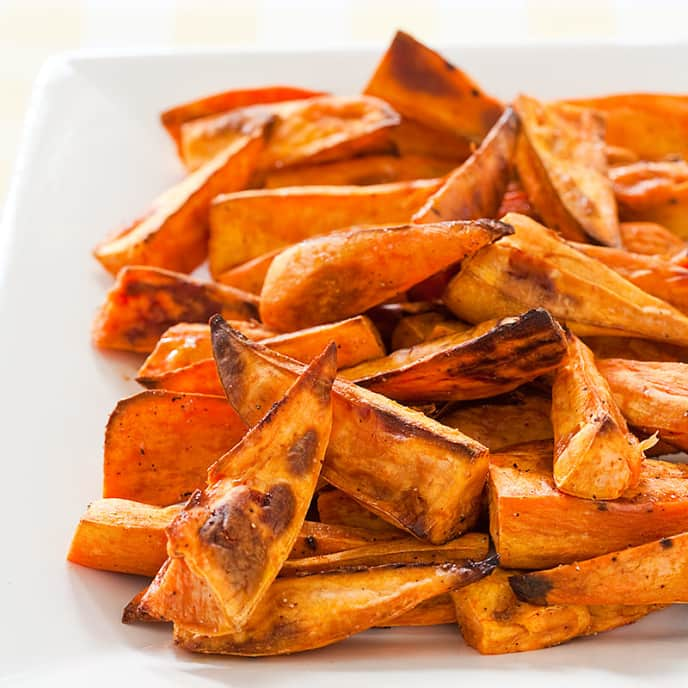 Allspice-Thyme Roasted Sweet Potato Wedges