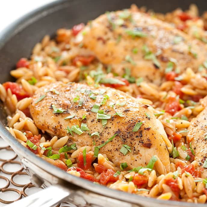Skillet Italian Chicken with Orzo