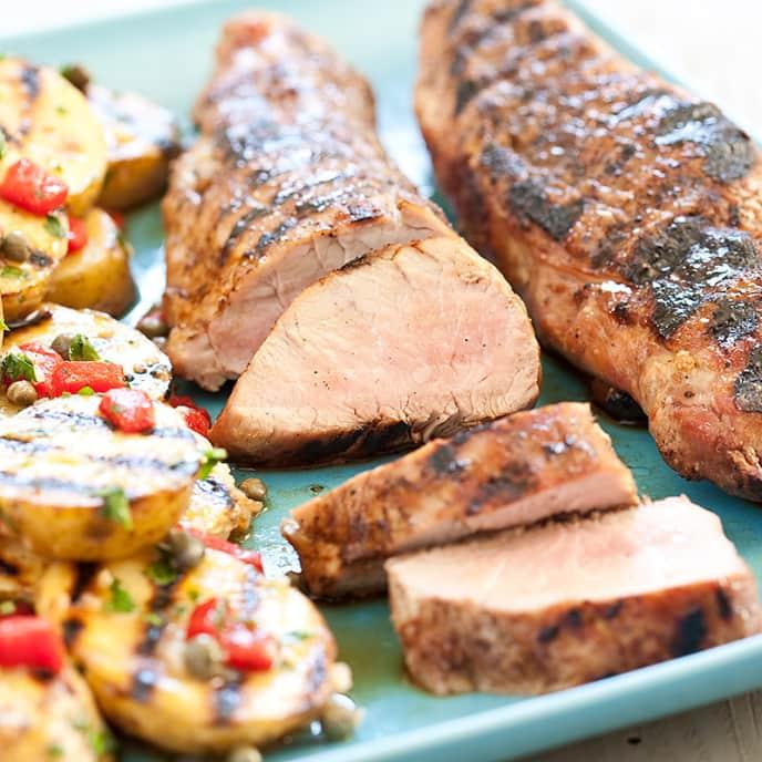 Grilled Pork Tenderloin and Garlicky Potato Salad