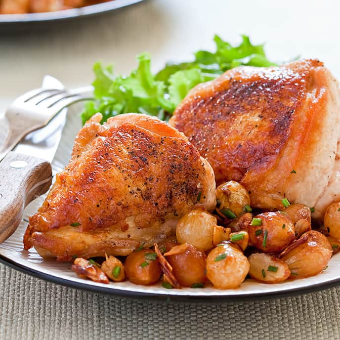 Chicken with Caramelized Pearl Onions and Almonds