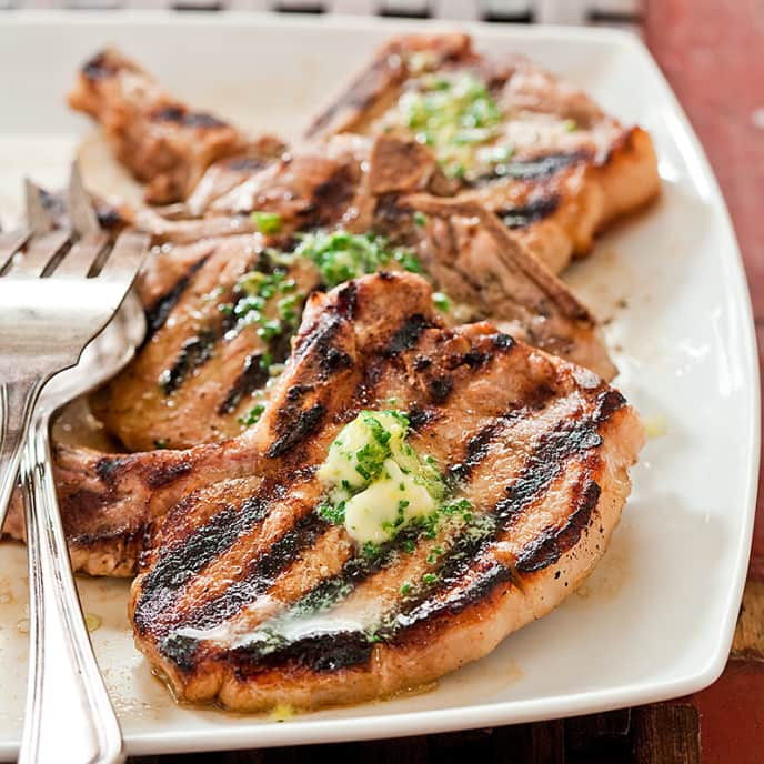 Grilled Thin-Cut Pork Chops with Thyme and Ginger