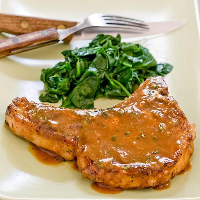 Pork Chops with Bourbon-Apple Pan Sauce