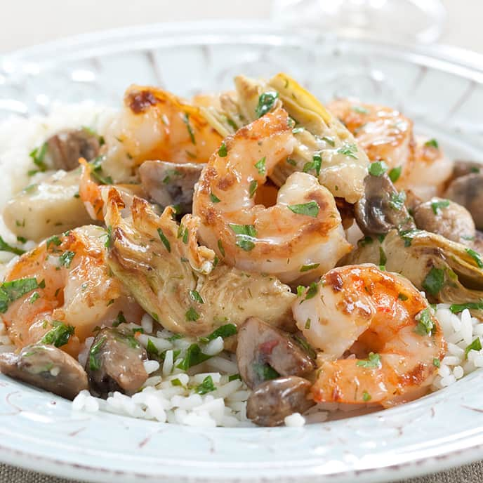 Shrimp with Artichokes and Mushrooms