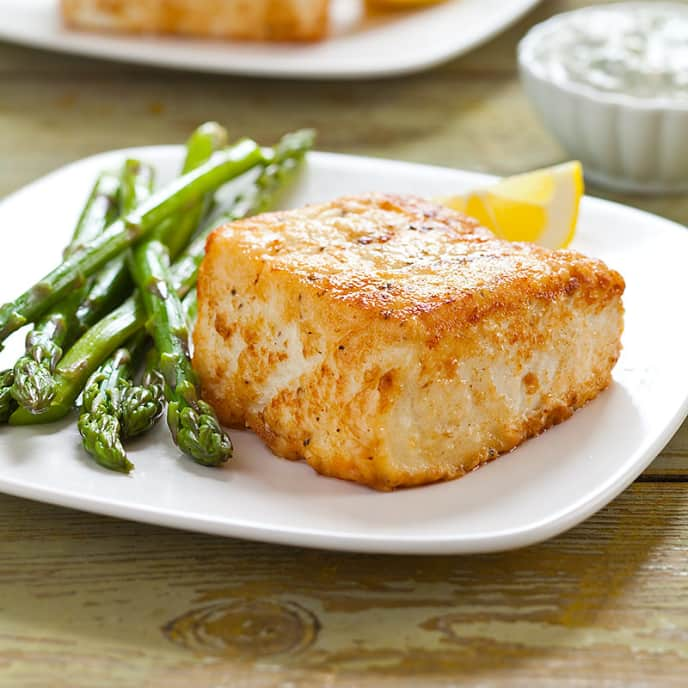 Pan-Seared Halibut with Arugula-Basil Aioli