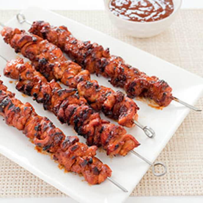 Gas-Grilled Barbecued Chicken Kebabs