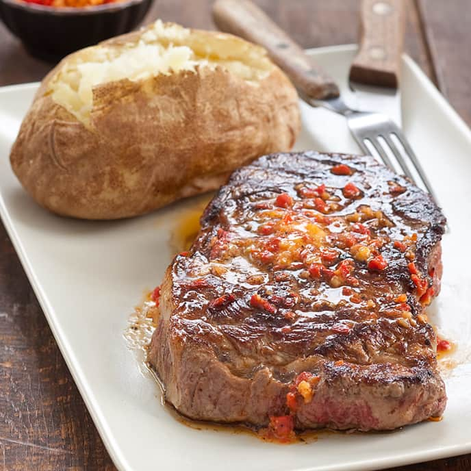 Grilled Rib Eye with Roasted Red Pepper Butter
