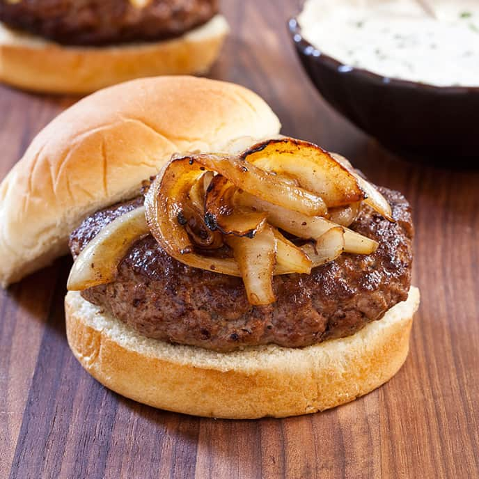 Skillet Burgers with Sautéed Onions and Horseradish Sauce