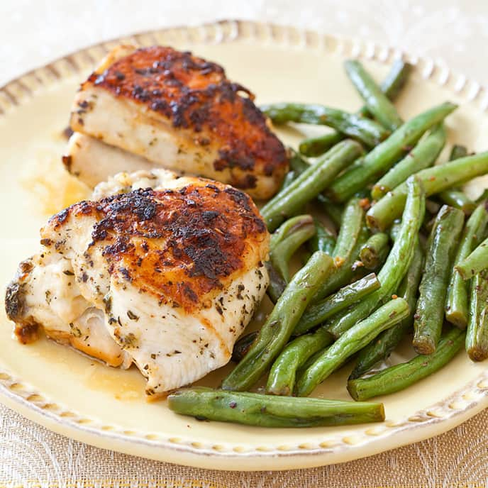 Herb-Roasted Chicken with Dijon Green Beans