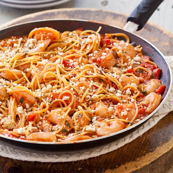 Toasty Skillet Spaghetti with Shrimp