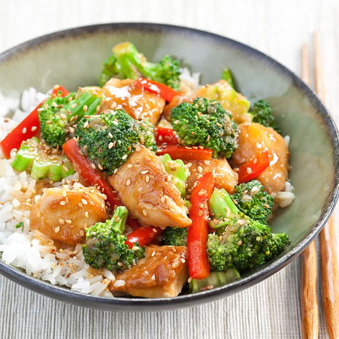 Sesame Chicken with Broccoli and Red Pepper