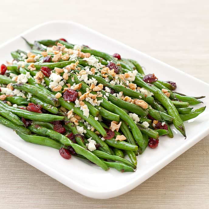 Green Beans with Cranberries, Walnuts, and Blue Cheese