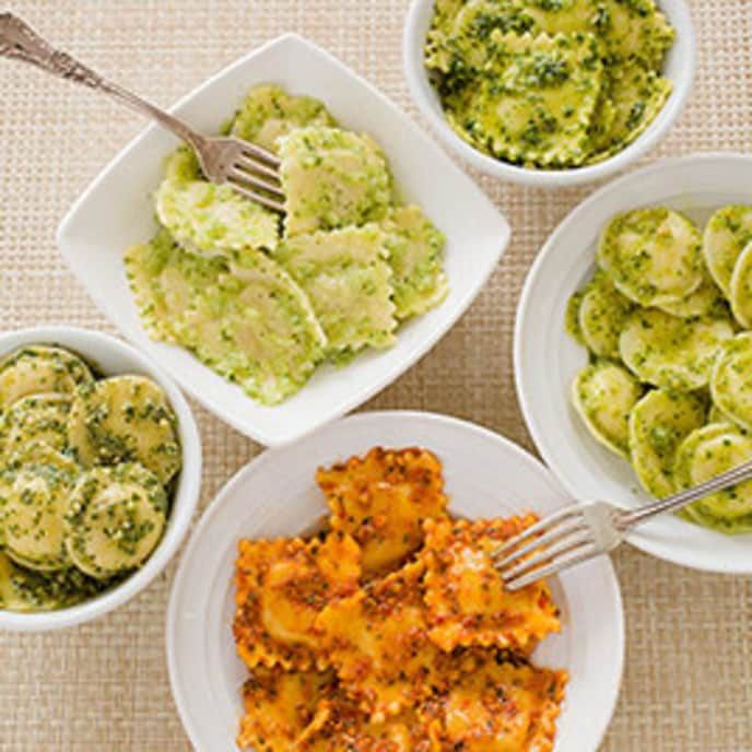 Green Olive, Almond, and Orange Pesto for Cheese Ravioli
