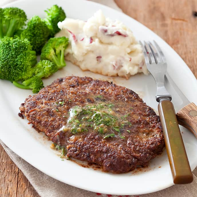 Minute (Cubed) Steaks with Garlic-Parsley Butter