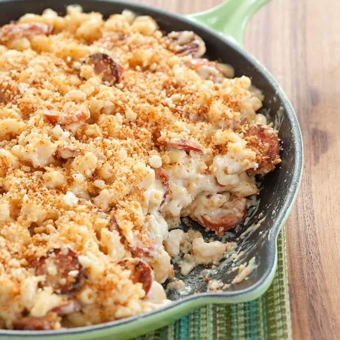 Skillet Kielbasa Macaroni and Cheese