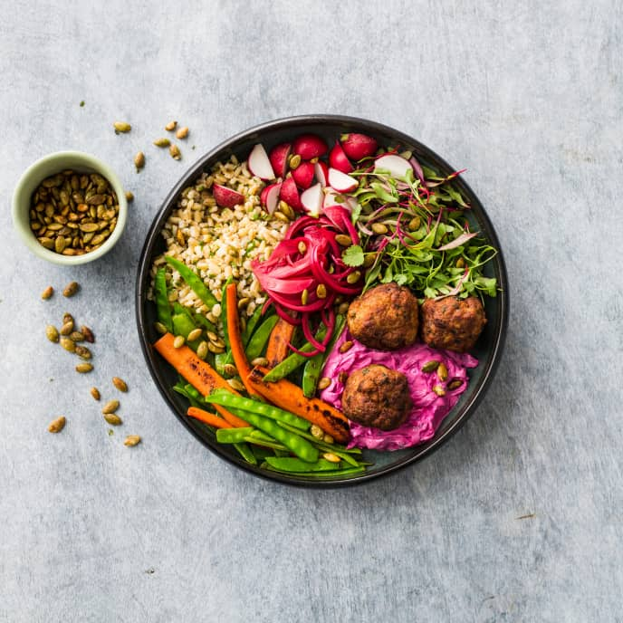 Vegan Barley Bowl with Roasted Carrots and Snow Peas