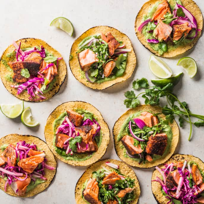 Salmon Tacos with Super Slaw