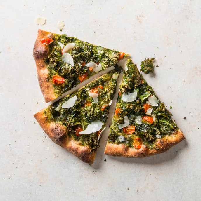 Whole Wheat Pizza with Kale and Sunflower Seed Pesto