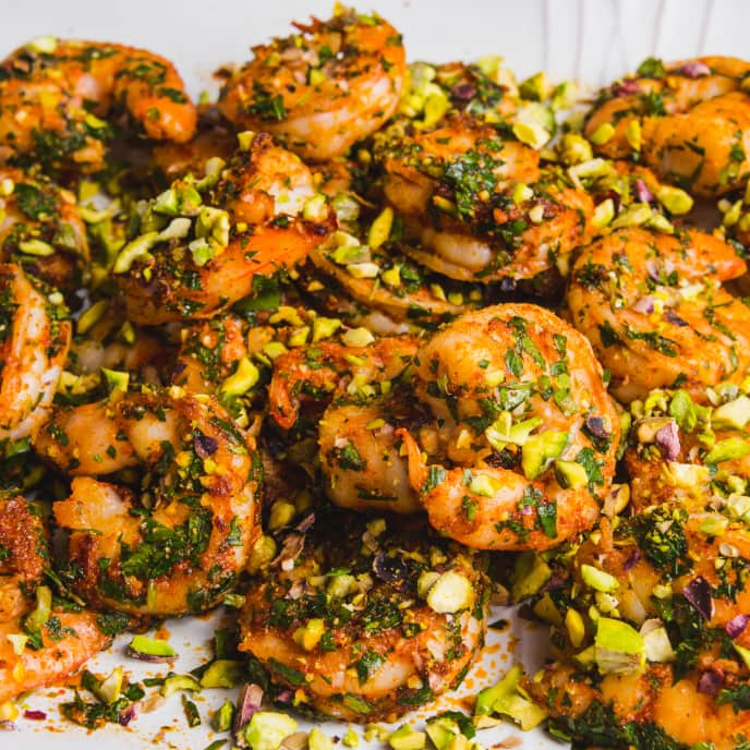 Pan-Seared Shrimp with Pistachio, Cumin, and Parsley
