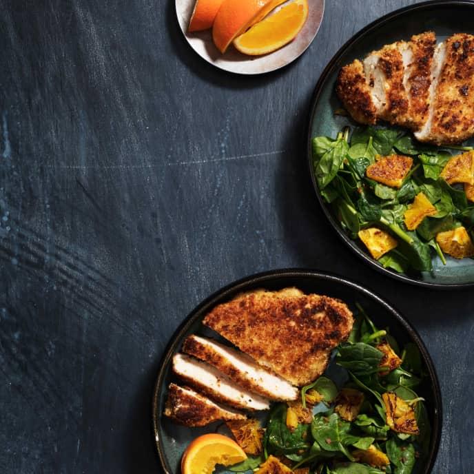 Almond-Crusted Chicken Cutlets with Wilted Spinach-Orange Salad