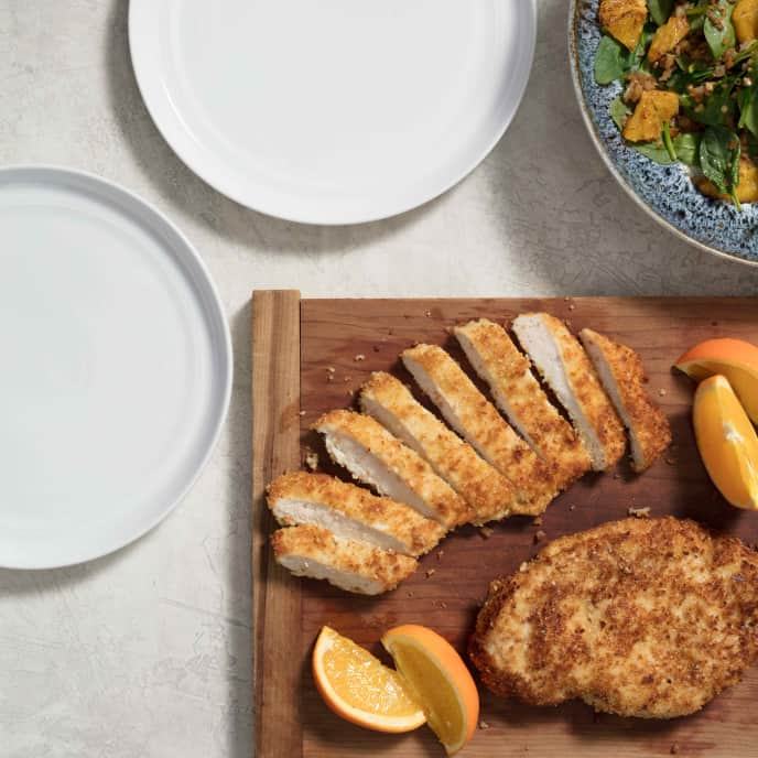 Almond-Crusted Chicken Cutlets with Wilted Spinach-Orange Salad for Two People