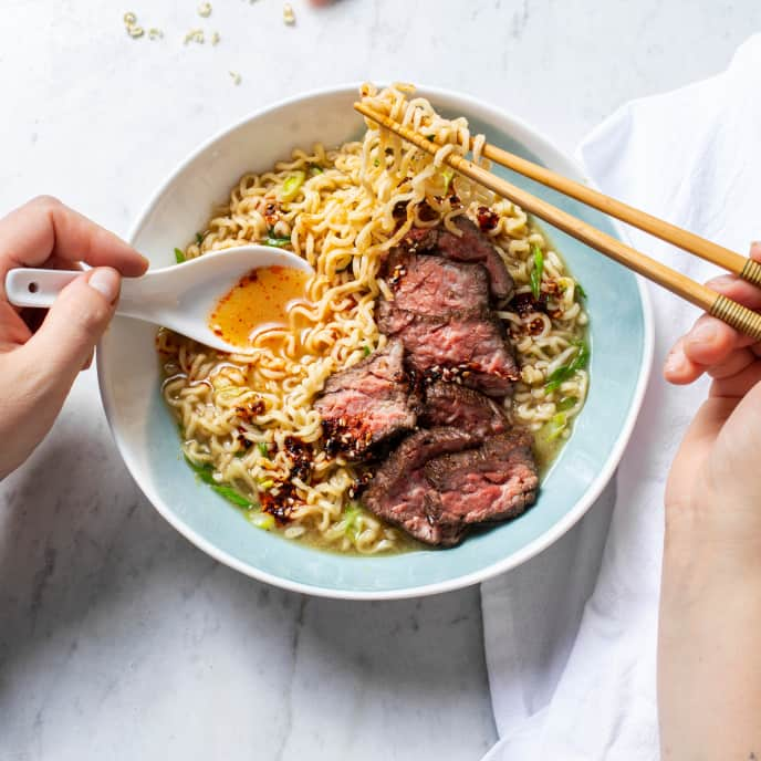 Almost-Instant Ginger Beef Ramen for One