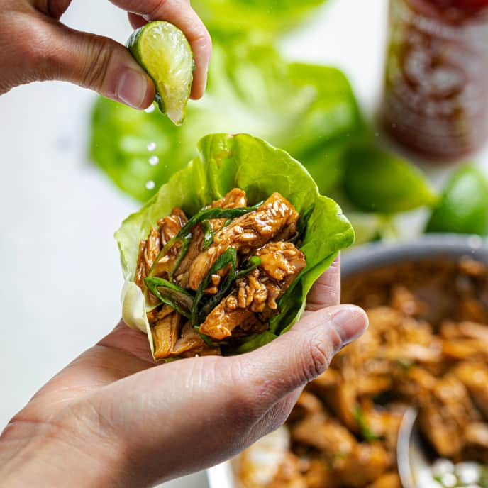 Chicken Lettuce Wraps with Hoisin Barbecue Sauce for One