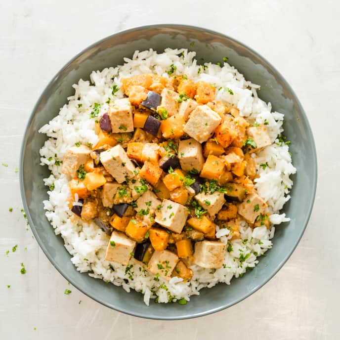 Braised Tofu and Vegetables with Coconut and Lemongrass for Two