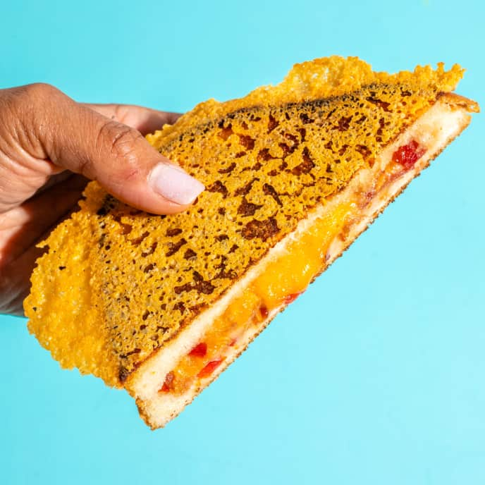 Cheddar-Crusted Grilled Cheese with Bacon and Pepper Jelly