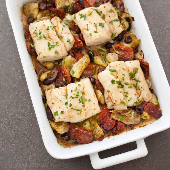 One-Pan Baked Cod with Artichokes, Olives, and Sun-Dried Tomatoes