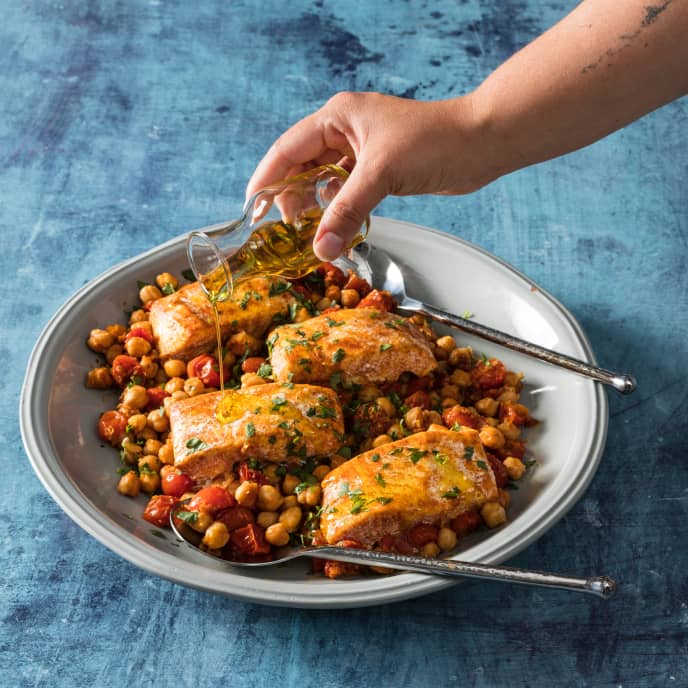 Baked Halibut with Cherry Tomatoes and Chickpeas