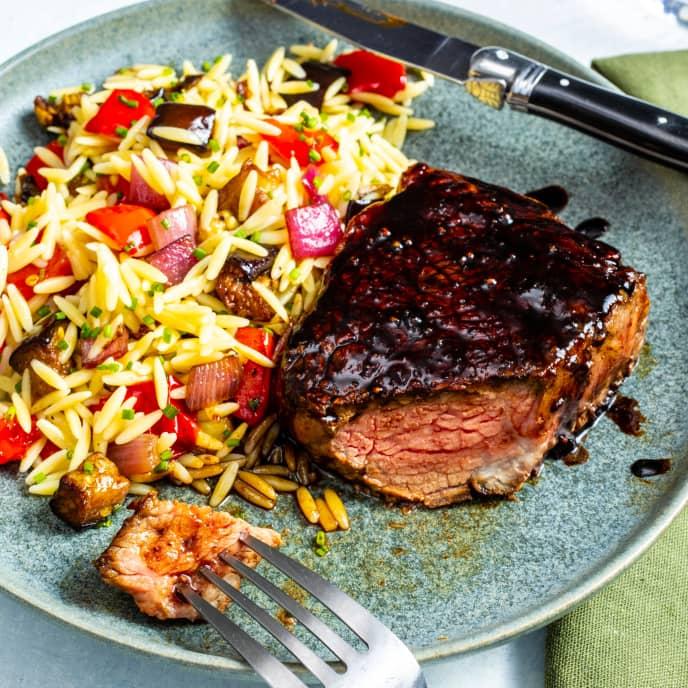 Balsamic-Glazed Steaks with Orzo Salad