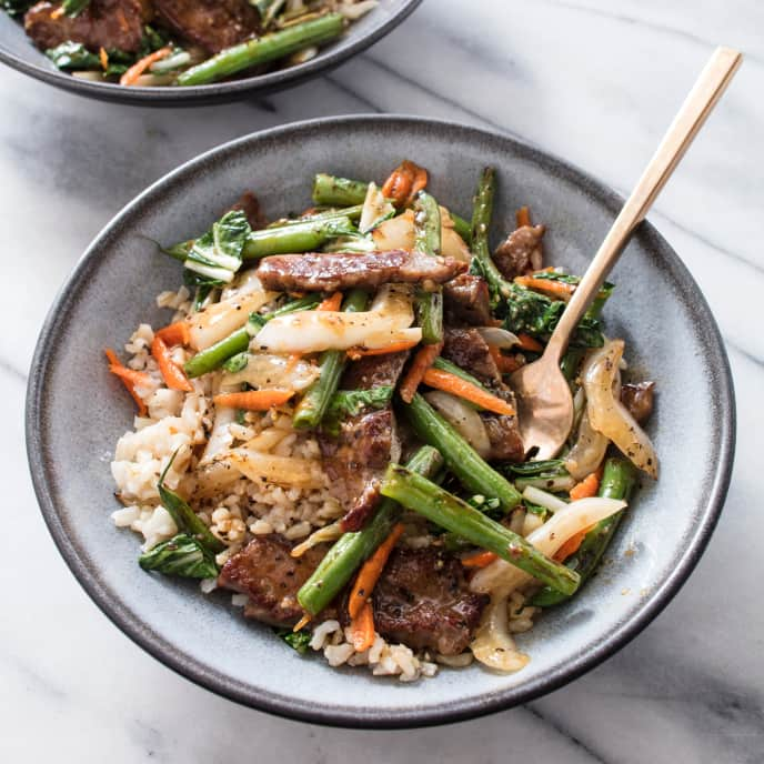 Beef Stir-Fry with Bok Choy and Green Beans