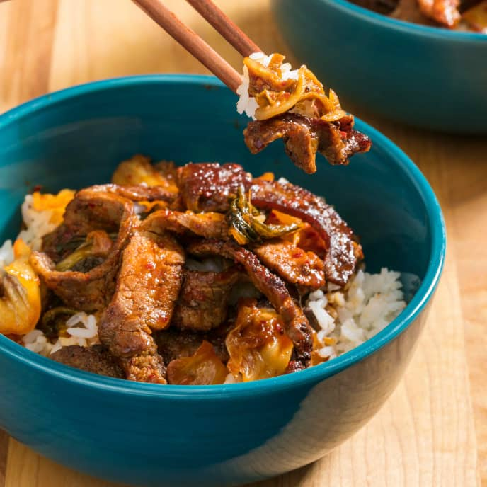 Stir-Fried Beef with Kimchi for Two
