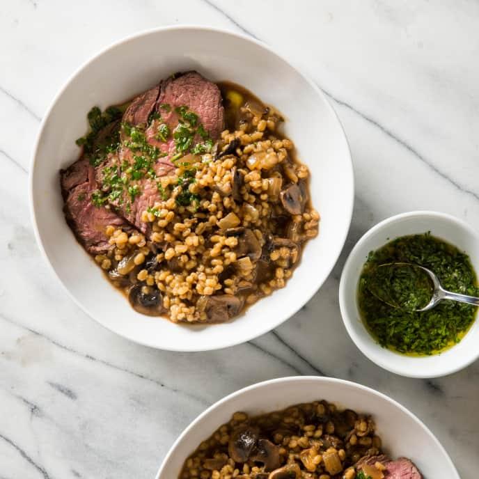 One-Pot Beef en Cocotte with Creamy Mushroom Barley and Salsa Verde