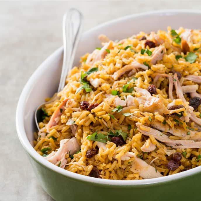 One-Pot Biryani-Style Chicken and Rice with Caramelized Onions, Cardamom, and Raisins