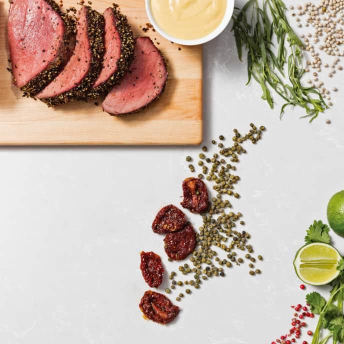 Peppercorn–Crusted Beef Tenderloin with Hollandaise Sauce