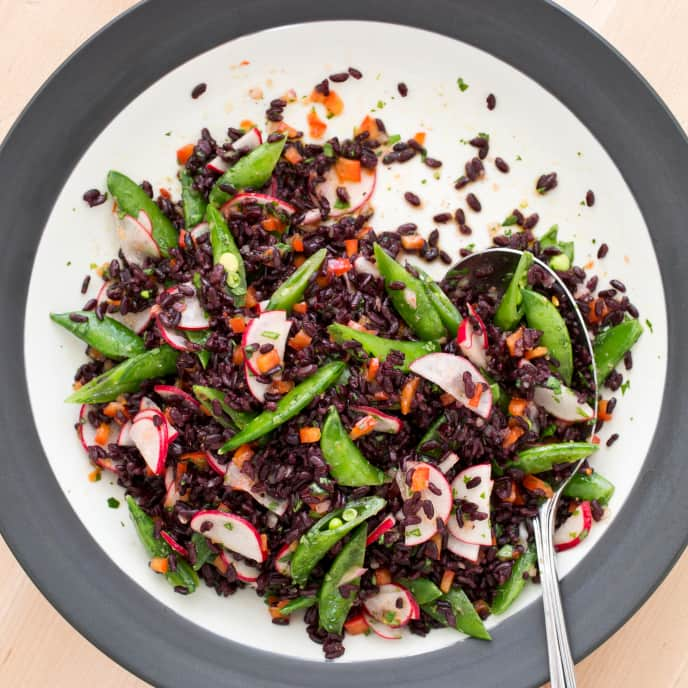 Black Rice Salad with Snap Peas and Ginger-Sesame Vinaigrette
