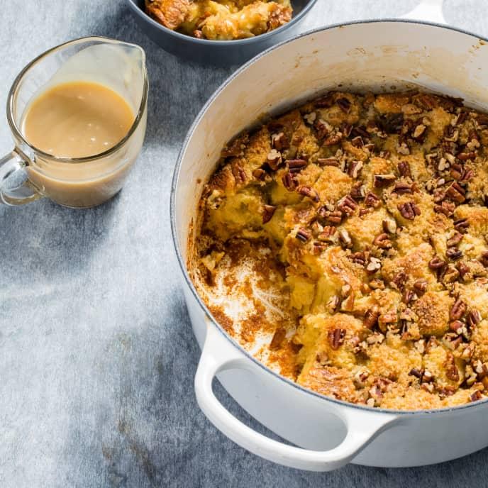 Dutch Oven Bourbon-Pecan Bread Pudding