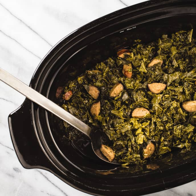 Slow-Cooker Braised Kale With Garlic and Chorizo