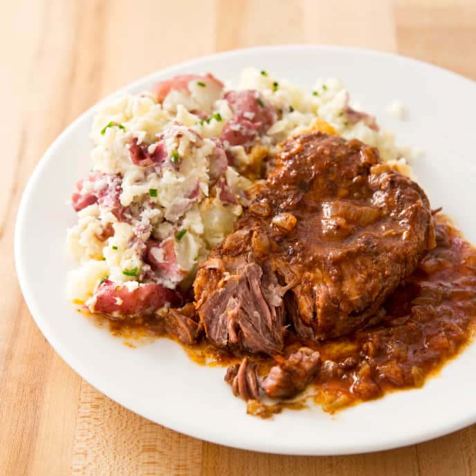 Slow-Cooker Braised Steaks With Horseradish Smashed Potatoes