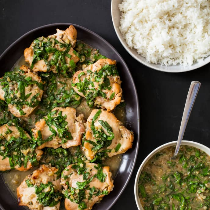 One-Pot Braised Chicken Thighs with Chard and Mustard