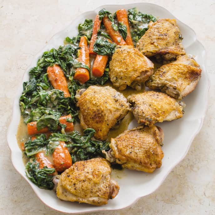 Cast Iron Braised Chicken Thighs with Swiss Chard and Carrots