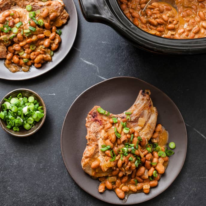 Slow-Cooker Braised Pork Chops With Campfire Beans