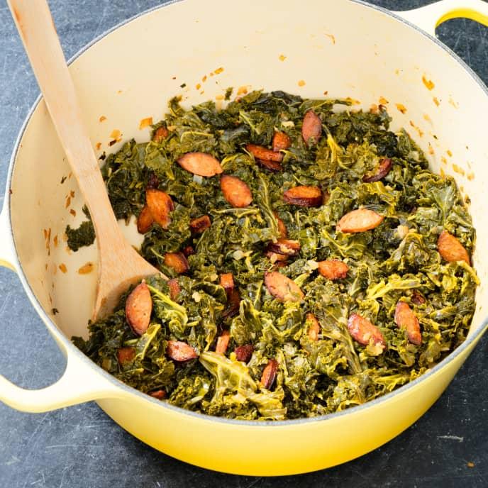 Braised Winter Greens with Chorizo