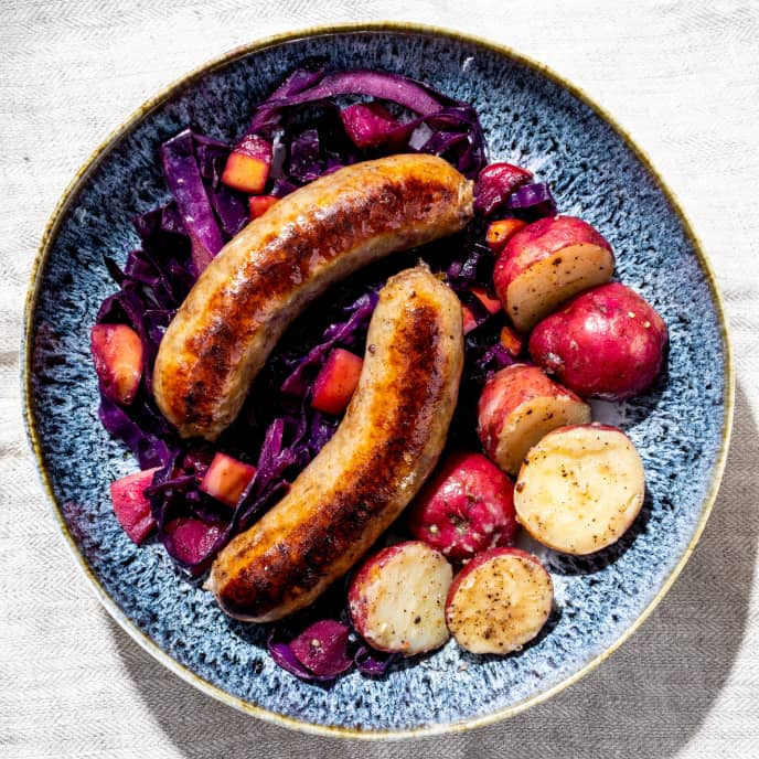 Bratwursts with Braised Red Cabbage and Potatoes
