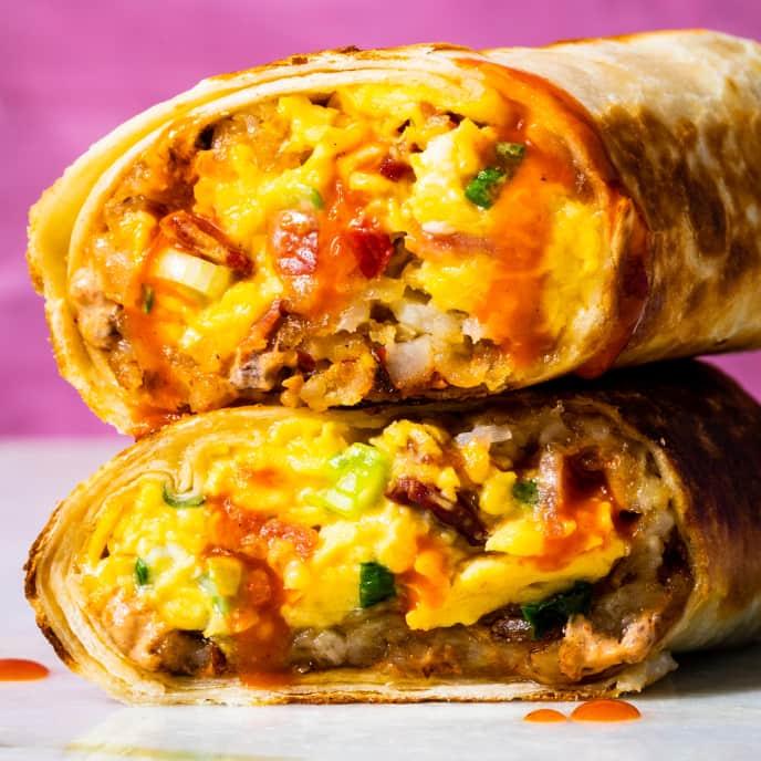Breakfast Burritos with Bacon and Crispy Potatoes